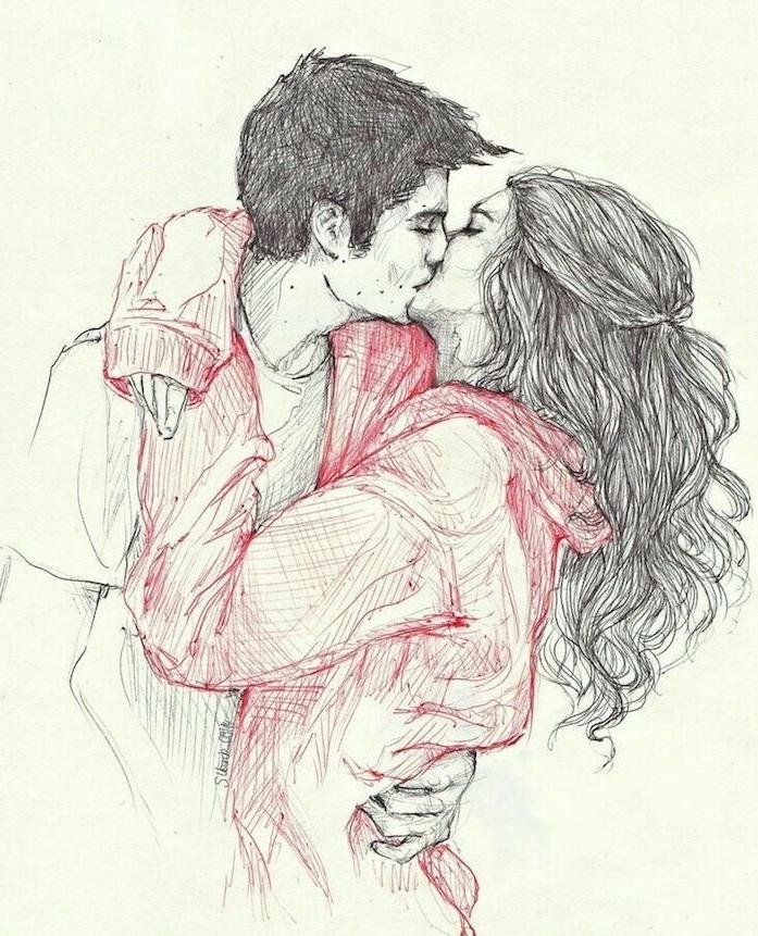 idée comment dessiner une couple amoureux, garçon et fille qui s embrassent, pull rouge tee shirt garçon blanc