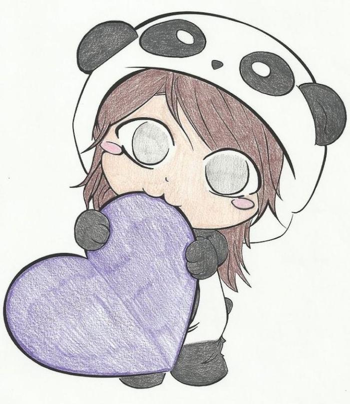 idée de dessin manga facile, petit bonhomme vêtu en costume de panda, coeur couleur violette dans les mains