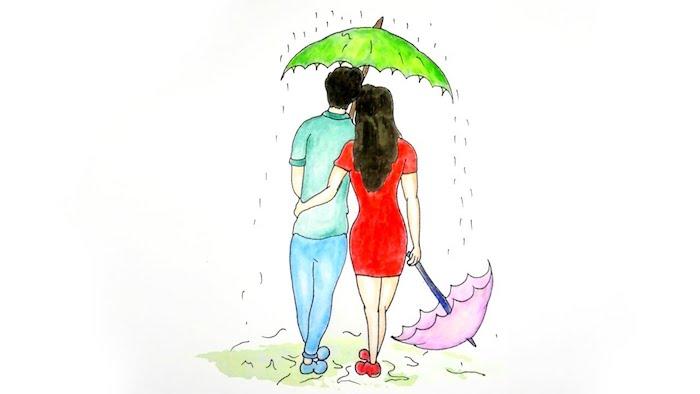 modele de dessin couple amoureux, robe rouge, pantalon et chemise bleu et vert, parapluie vert et rose, couple qui marche sous la pluie