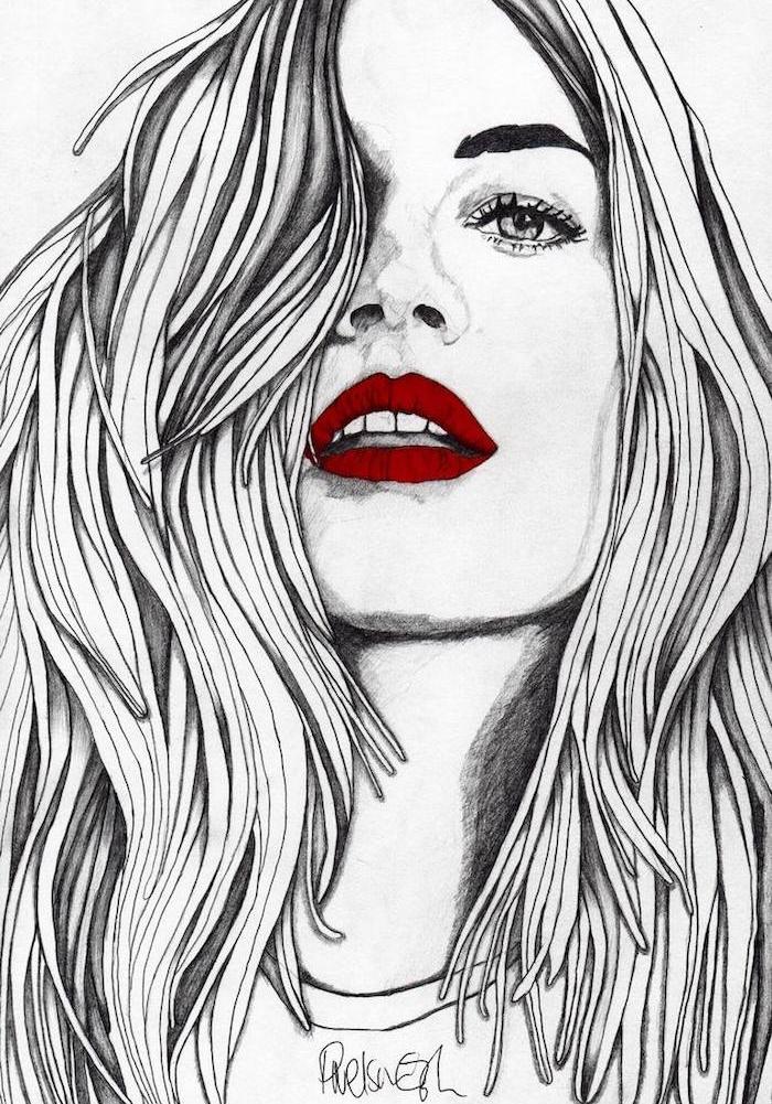 meuf swag aux cheveux volimineux, portait femme graphique avec des lèvres rouges, idée originale image fille