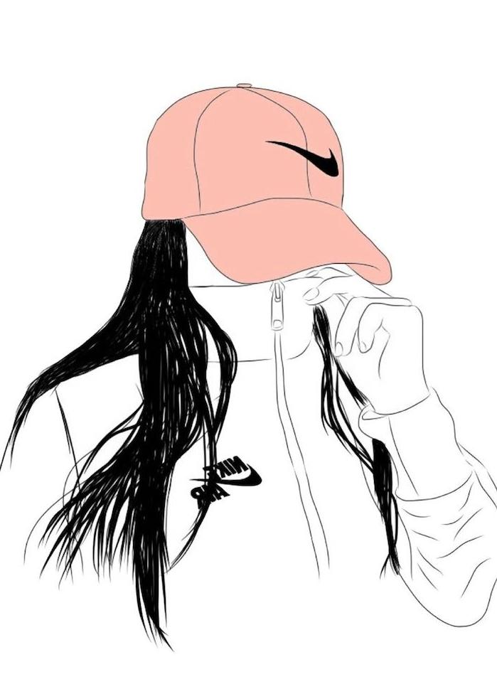 tumblr outlines fille avec visage caché, enue de sport nile, cheveux noirs longs et chapeau rose nike