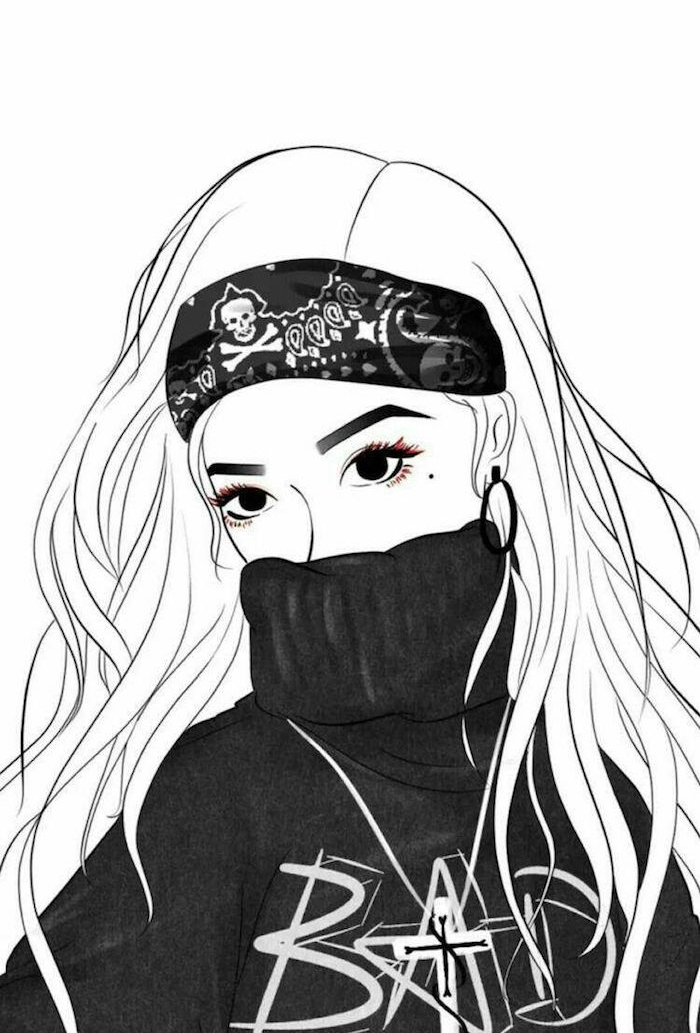 pull gris, bandeau de tête street style et cheveux longs, visage caché dans le col d un pull, dessin facile a faire pour debutant