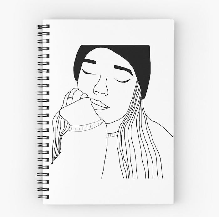 beau dessin de fille simple graphique avec chapeau noir cheveux lisses et gros pull confortable