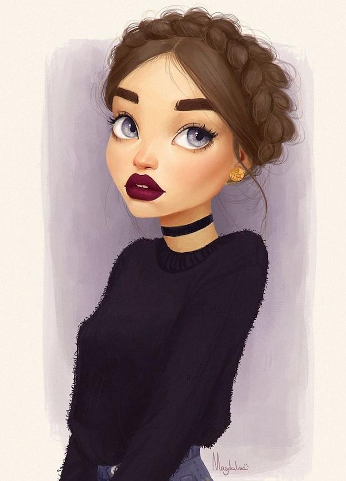portrait de fille style dessin animé en couleur, gros yeux bleu de gris, pull noir, cheveux en couronne de tresse