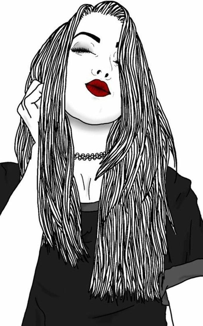 dessiner fille swag aux cheveux longs, portrait graphique tumblr outlines, rouge à lèvres rouge et tee shirt gris, image swag