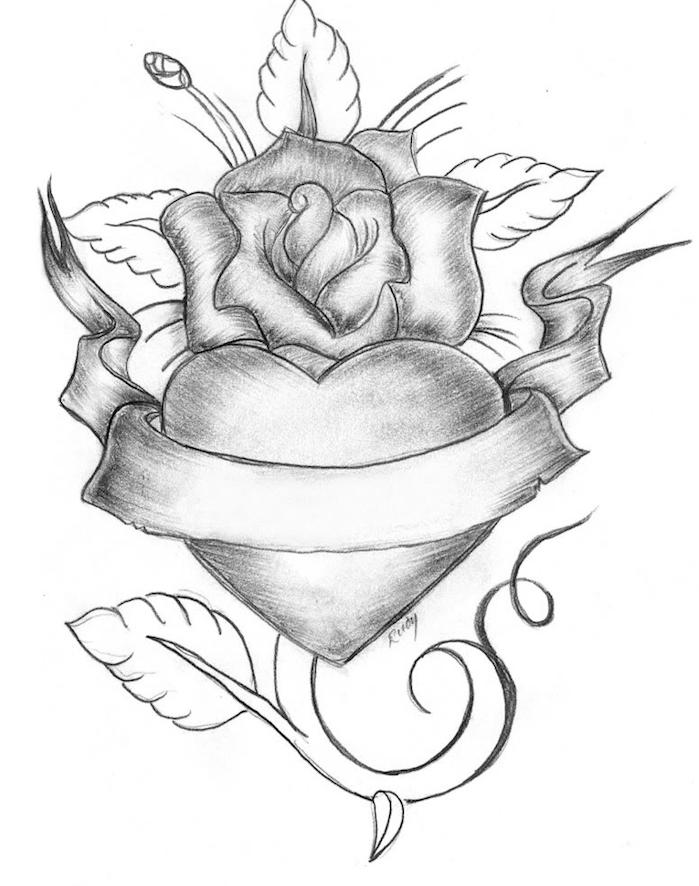 idée de dessin de coeur avec une fleur autour et un ruban, idée de dessin tatouage en noir et blanc original