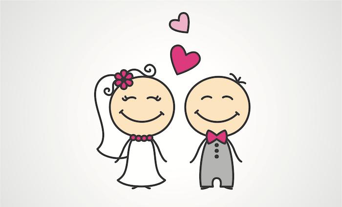 petits bonhommes homme et femme, jeunes mariés, homme en costume et femme en robe de mariée, coeurs qui s envolent dans l air