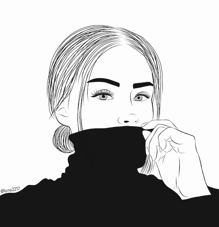 dessin facile a dessiner style tumblr outlines avec un pull noir, cheveux raides attachés et traits de visages simples a faire