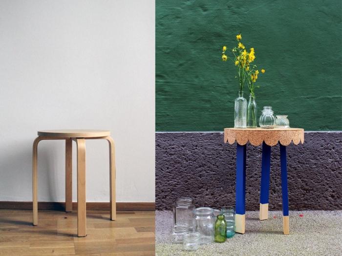 faire une petite table d'appointe à plateau rond de liège à partir d'un tabouret marius, bidouilles ikea pour créer des meubles pas chers
