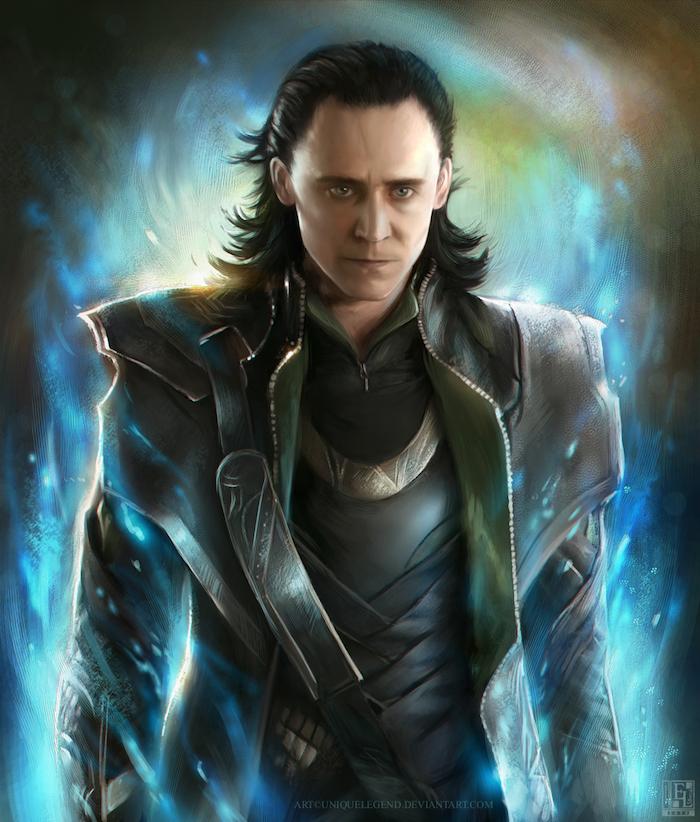 une photo de Loki de la nouvelle série Marvel avec l'acteur sur fond brillant