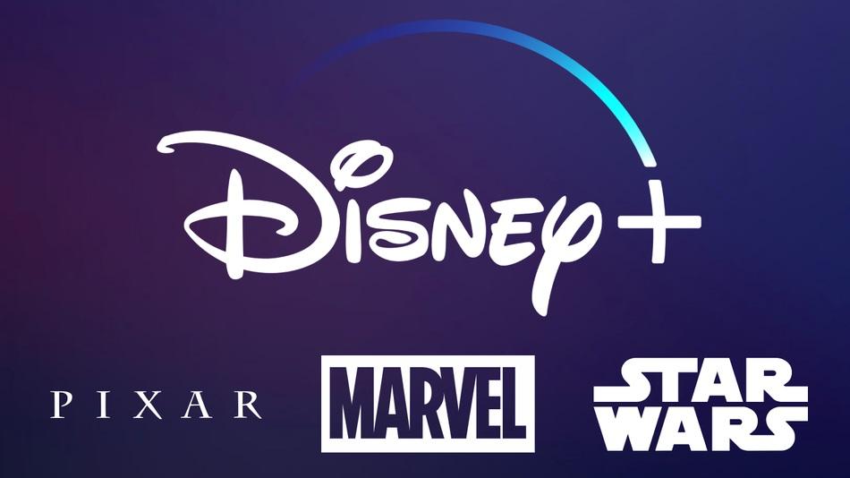 Le logo de Disney Plus sur fond bleu foncé avec également les logos des franchises partenaires pixar marvel star wars