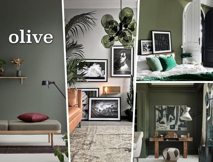 salon aux murs de peinture vert de gris, exemple mur de cadres noirs avec photos blanc et noir, chambre à coucher aux murs vert olive