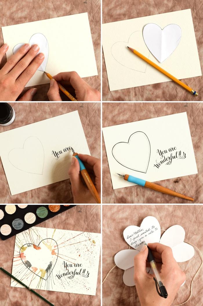 pas à pas carte scrapbooking, comment dessiner un coeur facile avec décoration à motifs aquarelle, lettres calligraphie pour carte d'amour