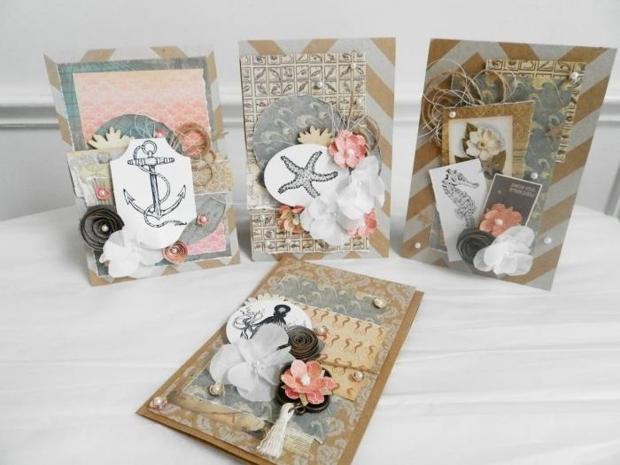 modèles de cartes DIY avec embellissements scrapbook, idée papier cartonné pour fabriquer une carte d'anniversaire