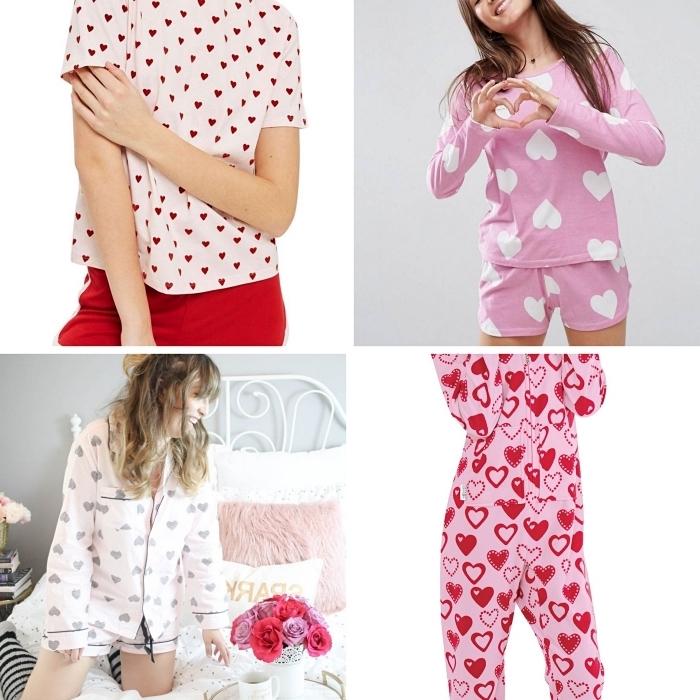 exemple de cadeau saint valentin femme pratique, ensemble pyjama rose à design romantique, vêtements de nuit pour femme