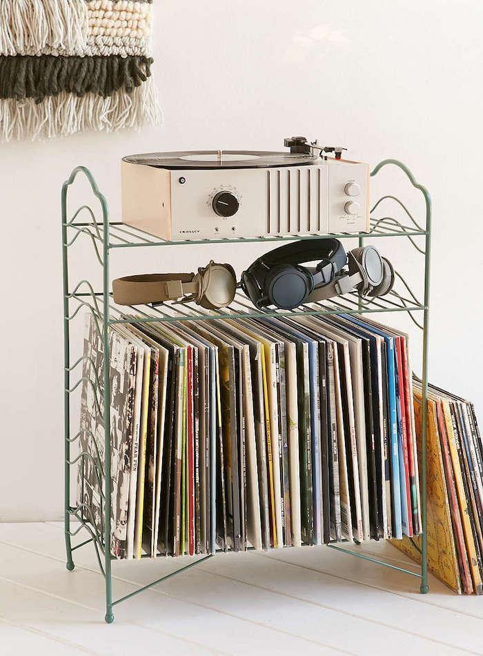 petit meuble en métal rétro pour rangement disques vinyles et support platine et ampli diy