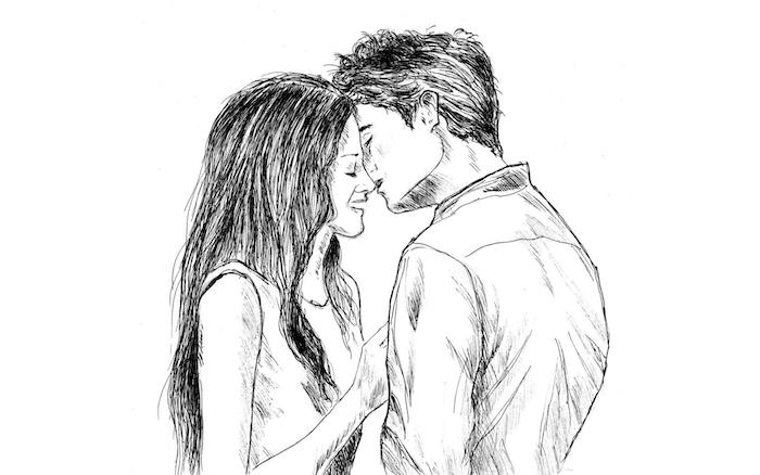idée de dessin graphique noir et blanc couple amoureux, homme et femme style graphique, homme en chemise et femme en débardeur