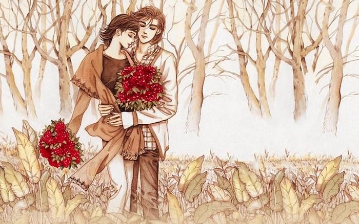 dessin d une foret enchantée, câlin entre homme et femme qui tiennent des bouquets de fleurs rouges, dessin en couleur marron