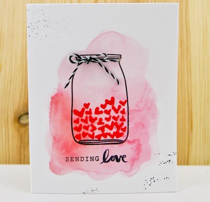 idée de bocal rempli de coeurs rouges en aquarelle sur fond rose et blanc et une ficelle noir et blanc 3 d