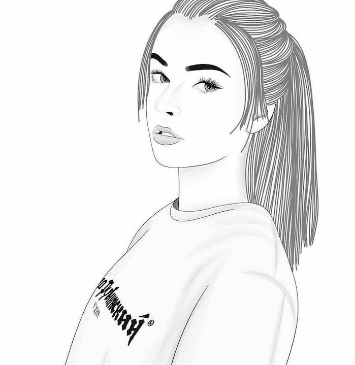 dessin tumblr style de fille aux cheveux longs et visage swag vêtue d un pull de sport, dessin visage femme