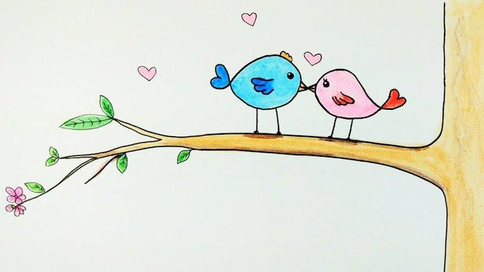 dessin d oiseaux femelle et mâle perchés sur une branche d arbre, oiseaux amoureux, coeurs rose et petites fleurs