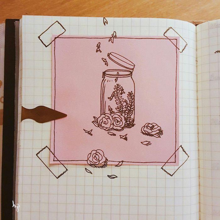 un bocal rempli de fleurs et branches fleuries sur un fond rose collé sur la page d un cahier à carreaux