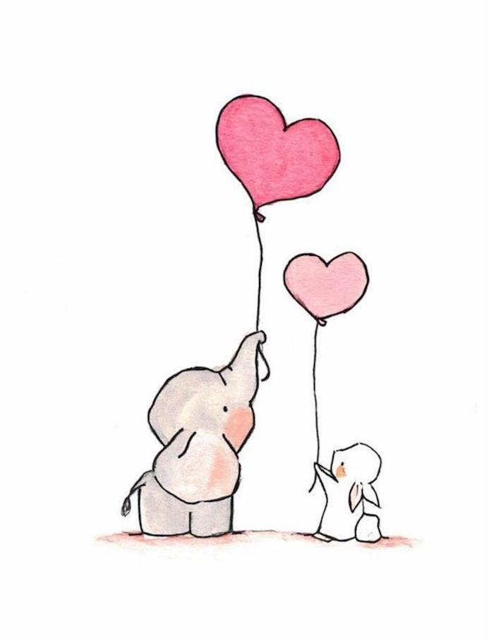 petit lapin et petit éléphant qui tiennent ballon en forme de coeur avec leurs trompes, idée de dessin animaux mignon