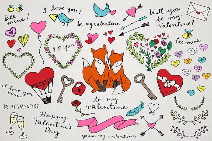 multitude de petits dessins de tailles variées sur theme amour, coeur, roses, oiseaux, renards, symboles de l amour