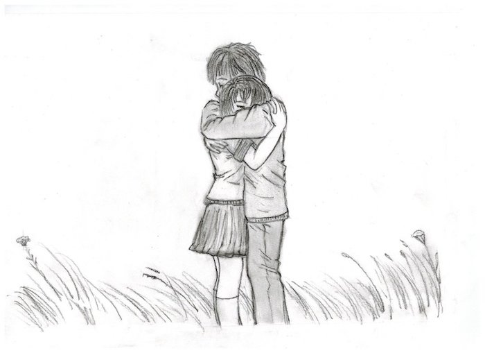 câlin entre fille et garçon en noir et blanc sur fond blanc et de l herbe, dessin amour éternel original