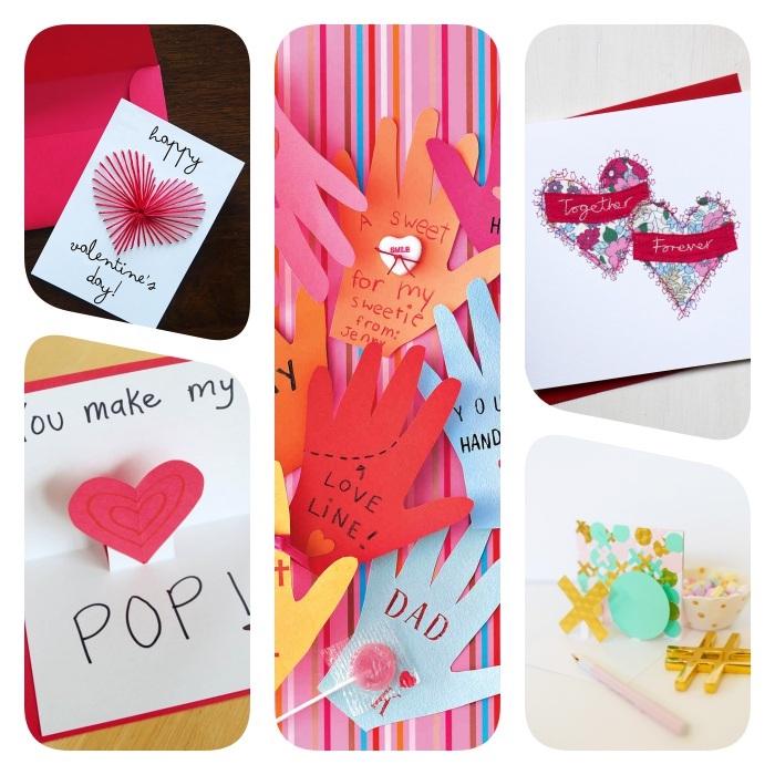 idées originales de carte diy a faire soi meme en papier avec des coeurs en papier, empreinte de main et fils de laine en coeur