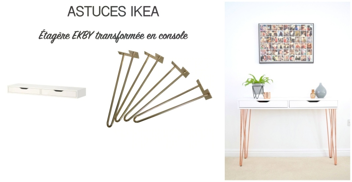 une étagère ekby avec des pieds en épingle transformée en console minimaliste, idée de detournement meuble ikea pas cher