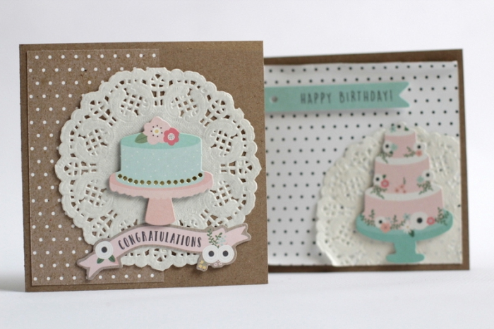 exemple de carte faite maison en papier artisanal avec figurines gâteau d'anniversaire, fabriquer une carte d'anniversaire