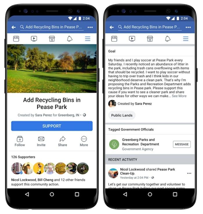actualités high tech archzine, facebook et sa nouvelle fonction de pétition nommée action communautaire