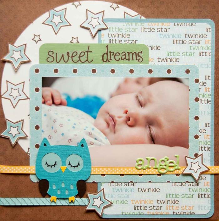 modèle de carte diy avec photo, idée scrapbooking facile, exemple de faire part naissance avec photo et figurine hibou en papier cartonné bleu