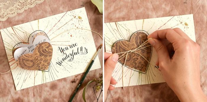 fabriquer une carte pour la Saint Valentin avec coeur pliable et message d'amour, tuto scrapbooking facile avec papier scrap