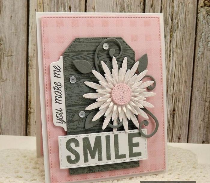 scrapbooking modele de carte d'amour, diy carte en papier scrap rose pastel avec fleurs blanches et lettres amour