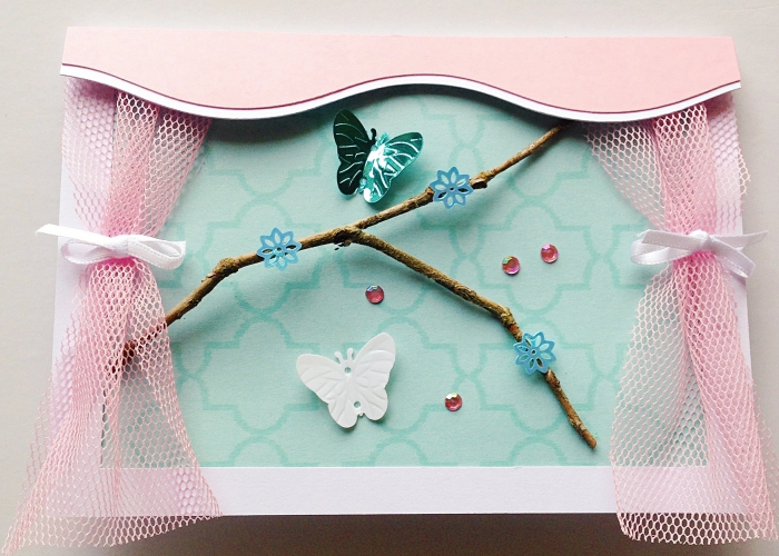 exemple comment fabriquer une carte d'anniversaire, modèle de carte faite maison en papier vert et rose pastel