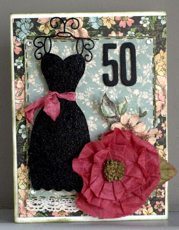 diy carte anniversaire pour femme, idée carte anniversaire 50 ans pour femme, diy carte en papier scrapooking motifs floraux