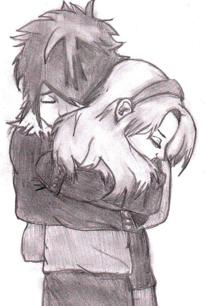 câlin entre fille et garçon dessin noir et blanc style graphique, image amour éternel, comment dessiner une personne