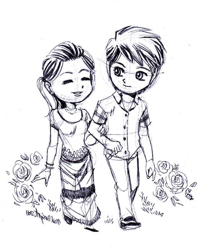 fille et garçon amoureux en train de se promener en plein air, entourés de fleurs, dessin de personnes style graphique manga