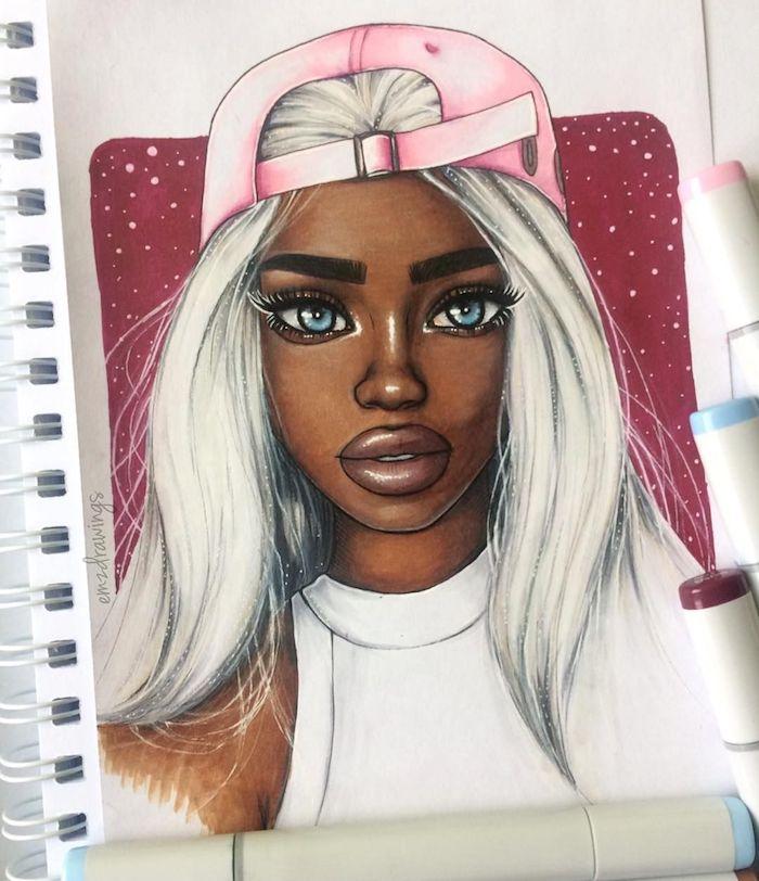 casquette rose à l envers, femme noire aux cheveux blancs et peau noire, débardeur blanc des yeux bleus, beau dessin facile faire