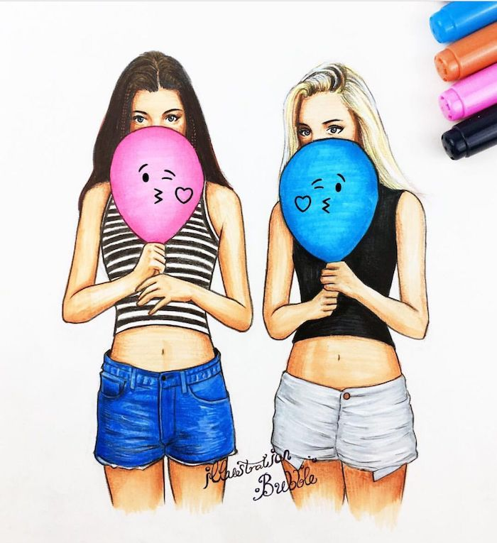files vêtues de crop top et jean shorts, une fille blonde et fille brune avec ballons colorés dans les mains, dessin à la main