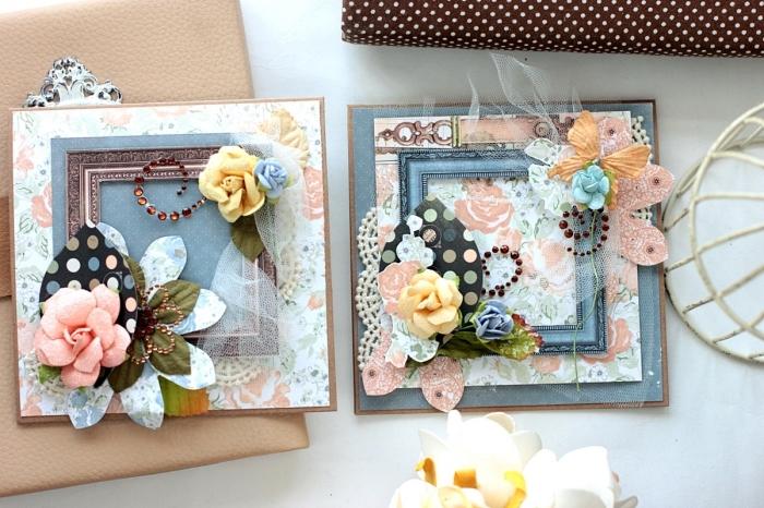 papier scrapbooking de couleurs pastel aux motifs floraux vintage, scrapbooking modele de carte faite maison avec dentelle et fleurs