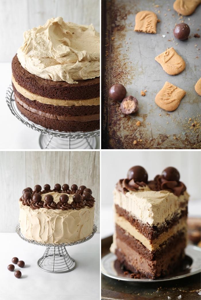 gateau au nutella et à la pâte de spéculoos composé de trois couches de génoises au chocolat