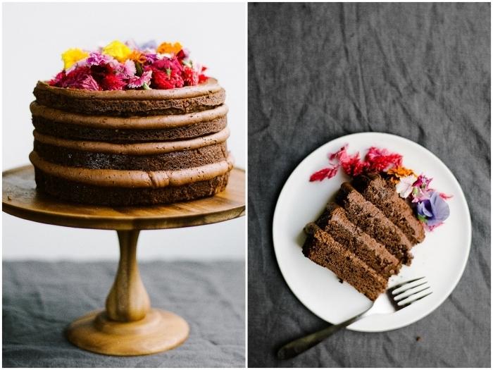 gateau au chocolat anniversaire composé de quatre génoises au chocolat recouvertes de crème beurre au nutella, décoré dessus de fleurs