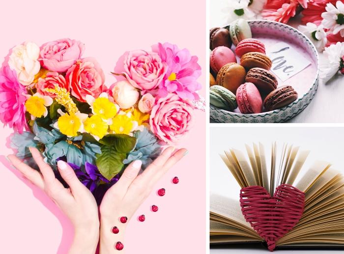 quel cadeau saint valentin femme choisir, bouquet de roses pour Saint Valentin, boîte bonbons ou macarons