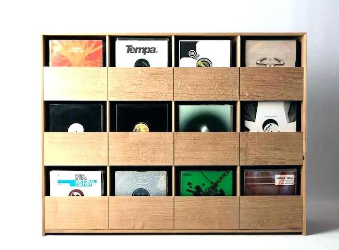 discothèque en bois pour vinyles avec tiroirs coulissant apparent pour rangement vinyle