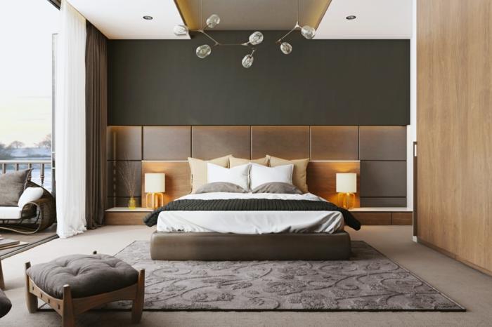 tapis gris, peinture pour chambre adulte neutre, chambre plan ouvert, lit plateforme; tabouret gris, lampes de chevet