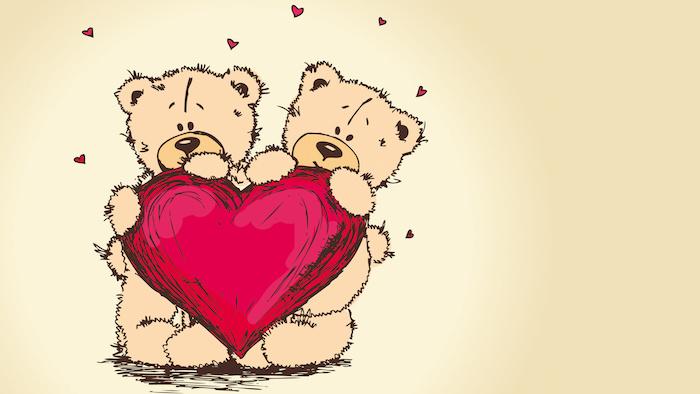 dessin animaux mignon, deux ourson qui tiennent un grand coeur rouge entourés de petits coeurs rouges sur fond blanc