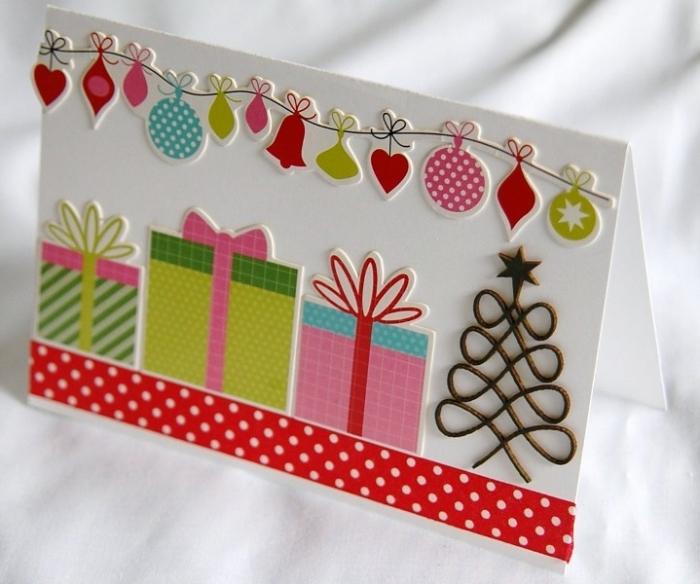 carte de Noël à faire soi-même, activité manuelle pour Noël, technique scrapbooking facile pour grands et petits